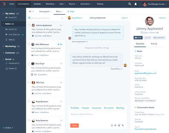 HubSpot Product Updates from the #INBOUND17 Conference - Conversations image